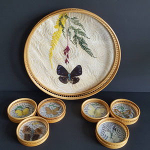 Other - Vintage Butterfly Tray Coaster Set Bamboo Floral